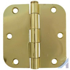"3.5"" x 3 1/2"" Bright Brass Door Hinge with 5/8"" radius"