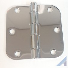 "3.5"" X 3 1/2"" Bright Chrome Hinge with 5/8"" radius screws included"